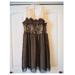 Altar'd State Beige and Black Lace Dress